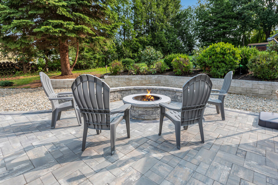 Four chairs and a firepit