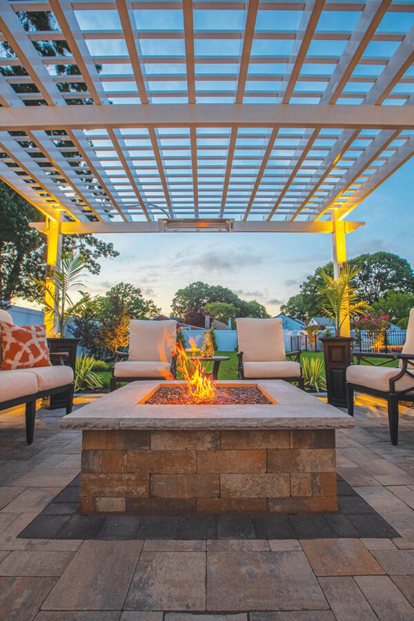 A firepit in an outdoor patio