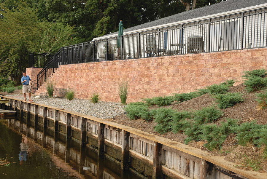 Nicolock retaining wall firma wall crab orchard blend