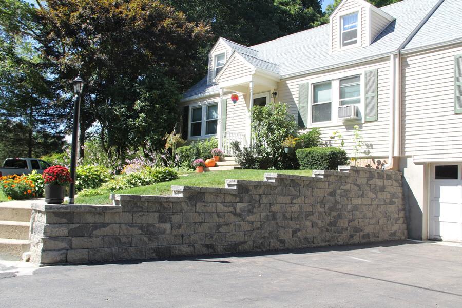 Nicolock retaining wall firma wall granite city blend