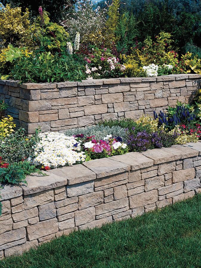 Nicolock retaining wall mountain block york brown
